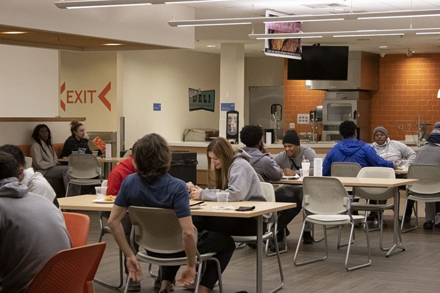 Students gathered in the Long Student Center cafeteria to enjoy a welcome back movie night for the spring semester.