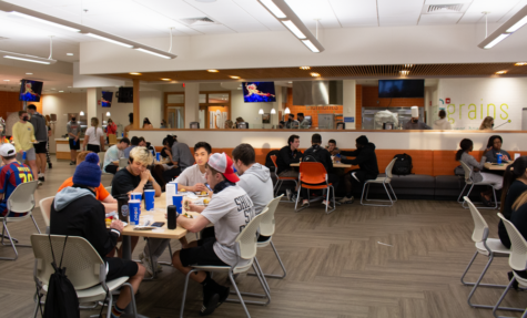 The university dining hall filled quickly due to the move indoors and away from the wind.