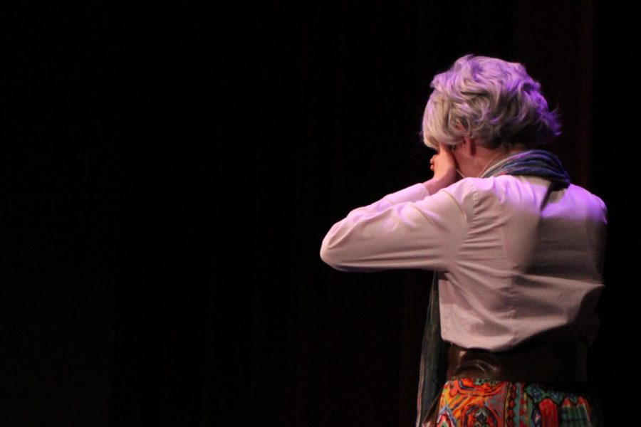 Gwen (Rodda) watches Jessica's Hamlet portrayal in dismay.