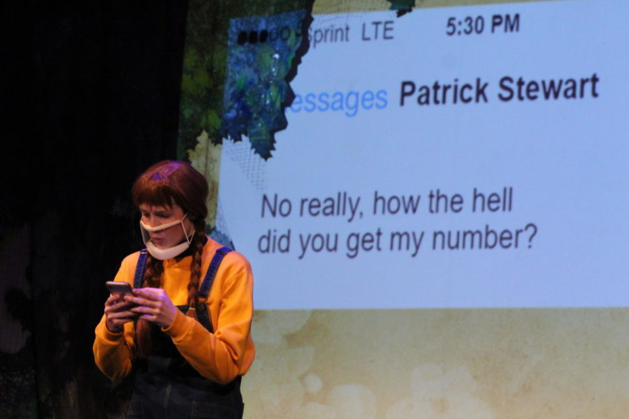 Tech-savvy Emily Ostergaard (Senior Emory Rodda) contacts Star Trek Next Generation star Patrick Stewart.
