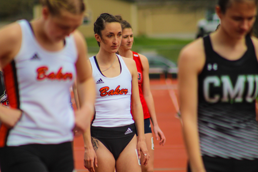 Junior Mia Wilhoit preparing to run the 800m at the meet on Mar. 27.