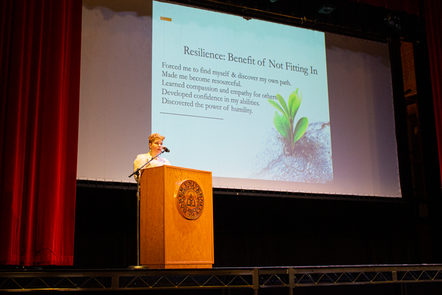 Associate Professor of Sociology Michelle Deming speaks on resilience at the Spring 2021 Last Lecture event.