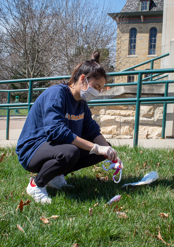 Many students, like Junior Jade Osborn, decided to dye their masks in the grass to cause less of a mess.