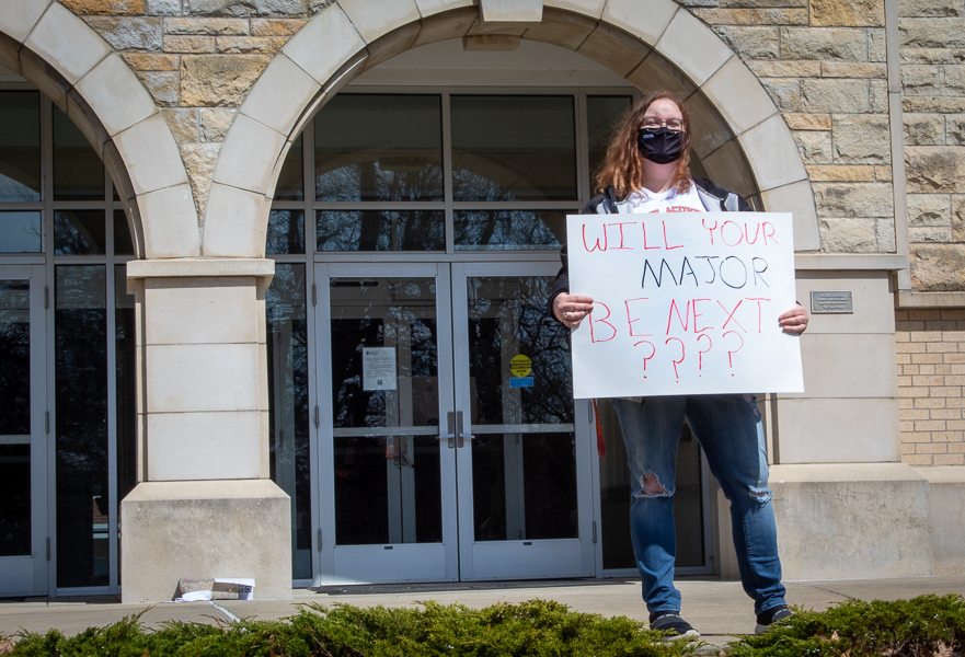 Senior Jesse Gardner was one of the first to show up and join the protest against majors and minors being cut.