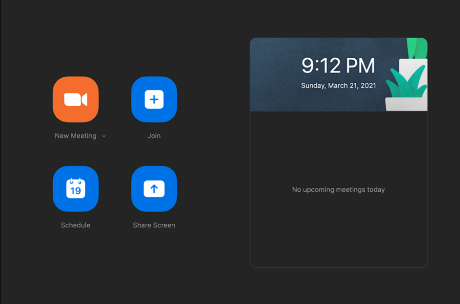 The home screen for Zoom includes the date, time and place to join meetings through a specific password. Students have varied opinions on the setup of Zoom.