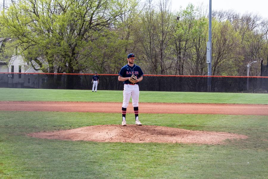 Pitcher Hunter Gudde prepares to pitch at Sauder Field.