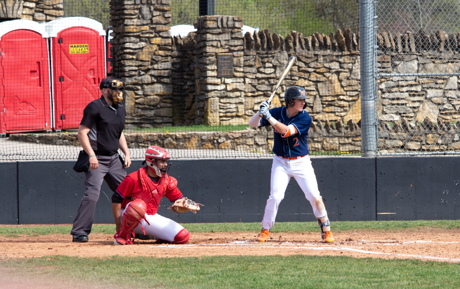 Senior Brian Wircenske gets comfortable in the batter's box as he awaits the pitch.