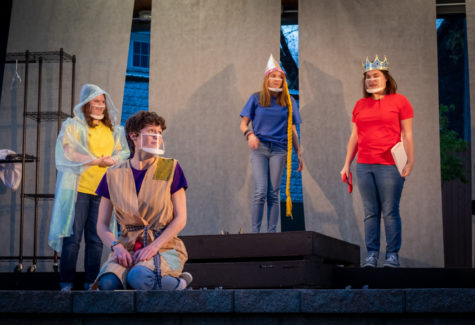 "Sophomore Reagan Baily, Sophomore Sami Aceto, Freshman Olivia Harms and Senior Morgan Masters all took part in the performance of The ""Brothers Grimm Spectaclathon,"" directed by Kenzie Kunlmann."