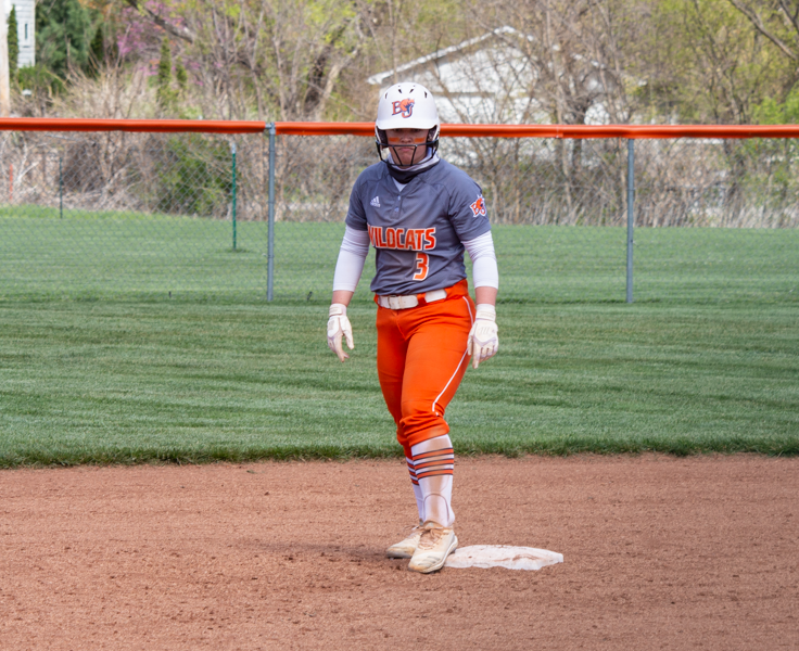 Senior Makayla Stromenger prepares to lead off from second base.