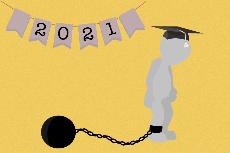 The amount of student debt is so debilitating that its inhibiting our freedom to education. As of 2021, the average amount of student debt owed was 37,693 dollars and, due to inflation, that number only continues to rise.