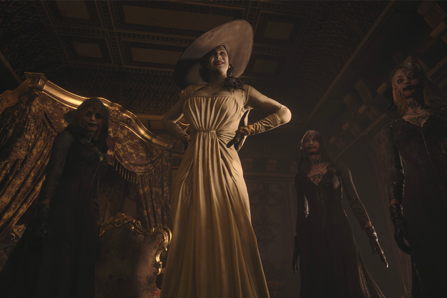 Lady Dimistrescu (center) and her three daughters Daniela, Cassandra and Bela (Left-right) capture their victims and drink their blood.