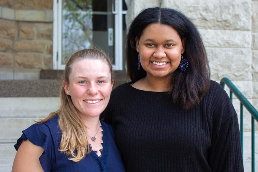 Physical Education major Patricia Moore (left) and Musical Education major Kara Smith (right) win the 2021 Teacher of Promise Award.