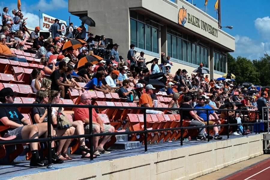 Liston Stadium is filled for family day as fans cheer on the Baker Wildcat football team against the Peru State Bobcats.