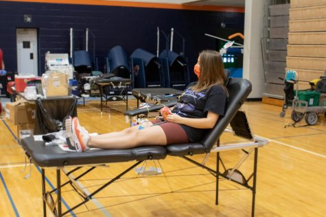 Along with working the blood drive, Davis was a last minute donator. This was the first time that she has donated blood.