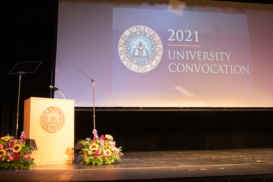 Convocation was located in Rice Auditorium at 11am on Thursday, September 9. Freshmen and transfer students were welcomed by faculty.
