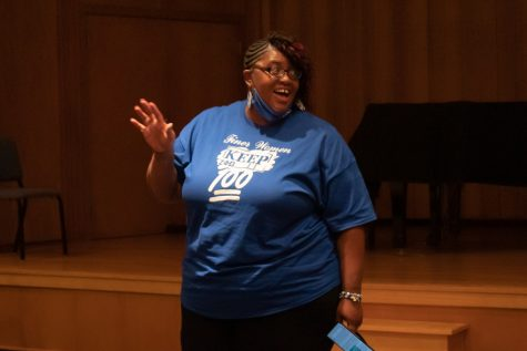 Clinical Social Worker/Therapist, Phelica Glass, presented to Baker University students on Sept. 8th. Glass is a member of the Zeta Phi Beta sorority. The sorority relies on service, especially when it come to mental health awareness.