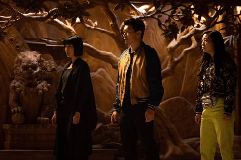 Menger Zhang, Simu Liu and Awkwafina (left to right) star in Shang-Chi and the Legend of the Ten Rings. The film is the twenty-fifth film of the Marvel Cinematic Universe and the second film of phase four.