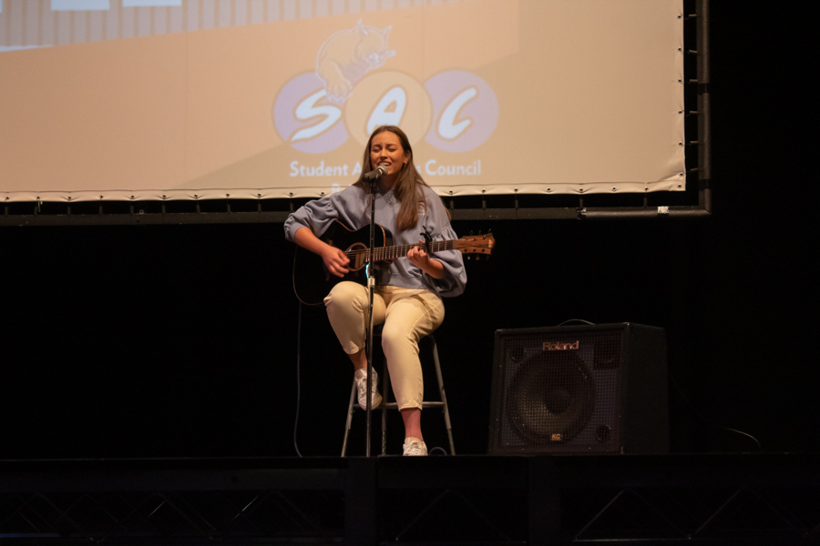 Freshman Tabea Weinpel performs her own original song Hold On, receiving second place overall.