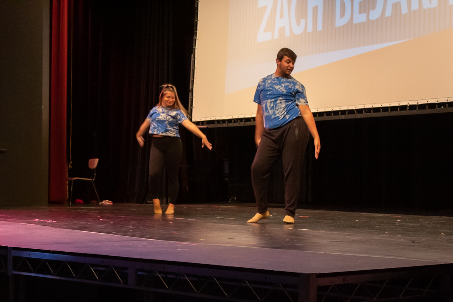 Dance team members, Junior Taylor McEachron and Freshman Zachary Bejarano, perform a duet at Bakers Got Talent on Sept. 28. McEachron and Bejarano earned a first place win and $200.