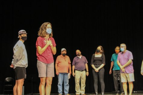 The cast of Lucy Sweet Sullivan and the Petticoat Council rehearse a scene to prepare for their weekend of shows beginning Sep. 24.