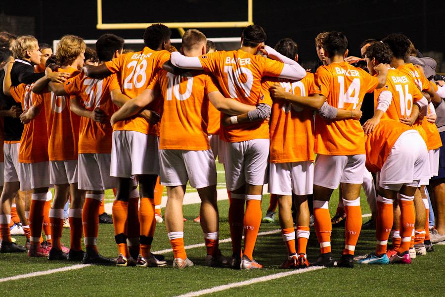 Baker Mens soccer gets a pep talk before the start of their game against Park University.
