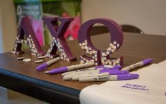 Alpha Chi Omega hosts Domestic Violence Awareness week from Oct. 11 - 14. On Monday Oct. 11, Alpha Chi tabled in the union with a banner and markers for students to write #1Thing they can do to support a survivor of domestic violence.